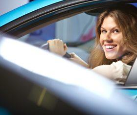 Woman driving car Stock Photo 01
