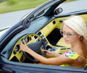 Woman driving car Stock Photo 02