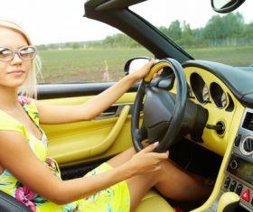 Woman driving car Stock Photo 03