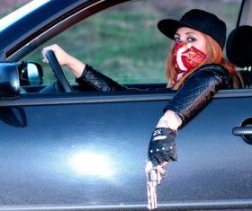 Woman driving car Stock Photo 04
