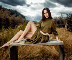 Woman posing outdoors Stock Photo
