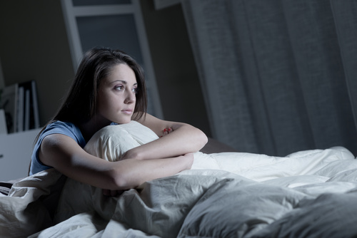 Woman who is insomnia at night Stock Photo 02