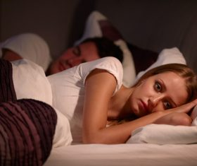 Woman who is insomnia at night Stock Photo 04