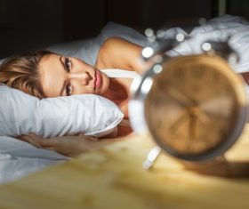 Woman who is insomnia at night Stock Photo 05