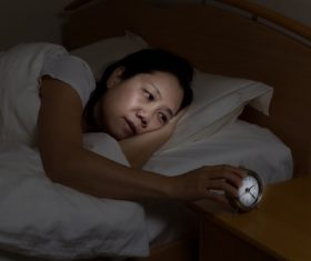 Woman who is insomnia at night Stock Photo 06