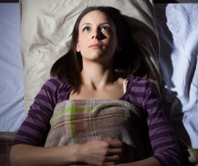 Woman who is insomnia at night Stock Photo 08