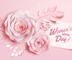 Women day card with flowers vector 01