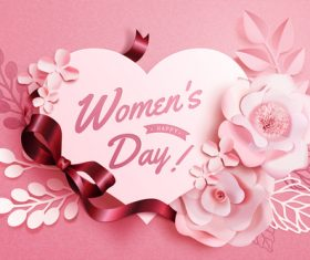Women day card with flowers vector 02