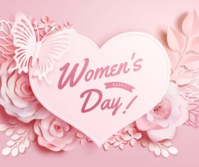 Women day card with flowers vector 03