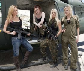 Women who like guns Stock Photo