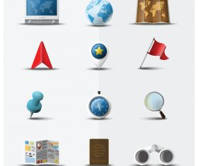 World Map icons set