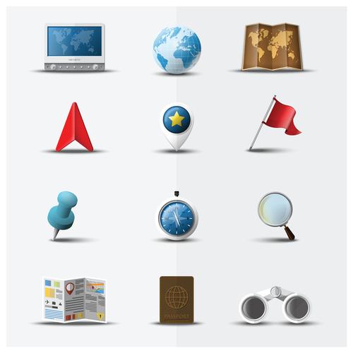 World Map icons set