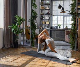 Yoga cat type action Stock Photo