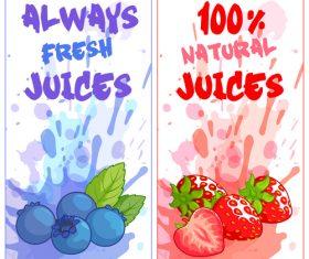 berries juice banners watercolor vector 01