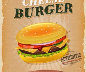 burger snack poster template retro vector
