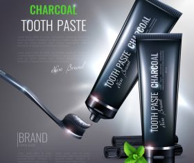 charcoal toothpaste poster design vector
