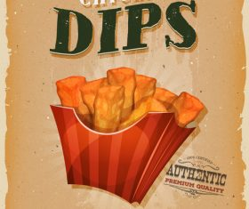 chicken dips snack poster template retro vector