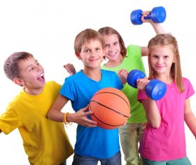 children holding basketball and dumbbells Stock Photo 01