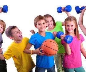 children holding basketball and dumbbells Stock Photo 02