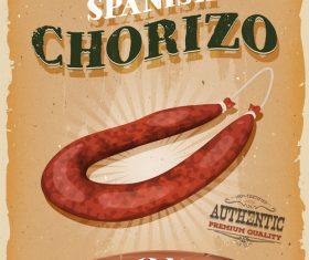 chorizo snack poster template retro vector
