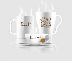 coffee mug and tea cup with typography vector illustration