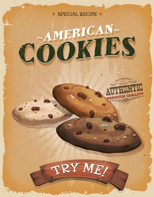cookies poster template retro vector