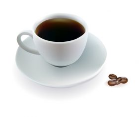 cup of coffee beans on white background vector