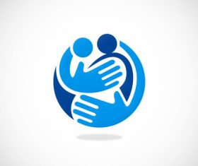 family care hands abstract vector logo