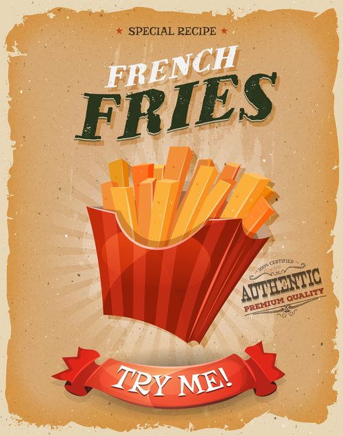 French Fries Poster Template Retro Vector Free Download