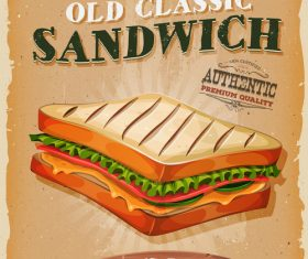 french sandwich poster template retro vector