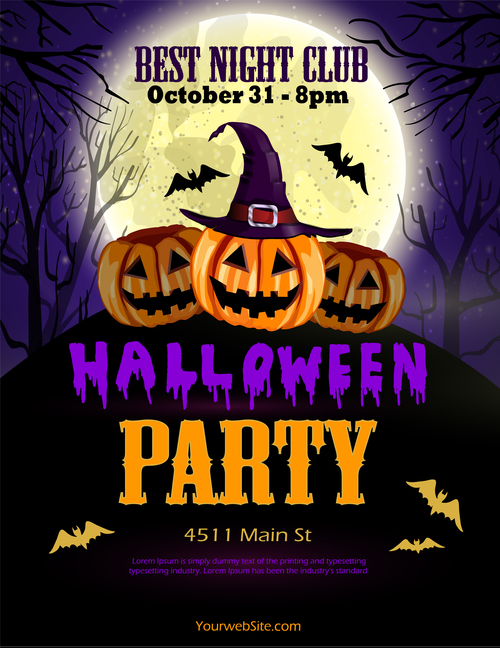 halloween party poster template design vector 05 free download