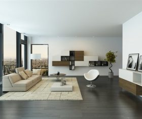 high-end living room decoration renderings Stock Photo