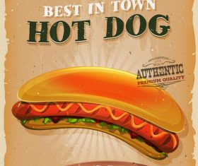 hot dog poster template retro vector