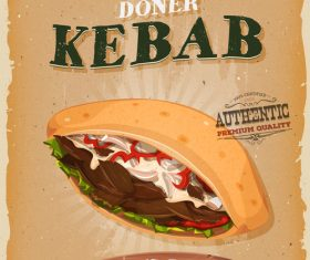 kebab sandwich poster template retro vector