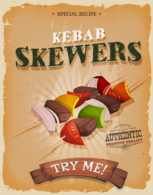 kebab skewers poster template retro vector
