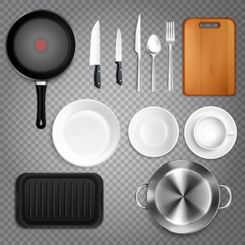 Kitchen Utensils Top View Realistic Transpa Vector