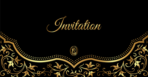 Luxury Black And Gold Invitation Card Vectors 03 Free Download