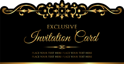 Luxury Black And Gold Invitation Card Vectors 05 Free Download