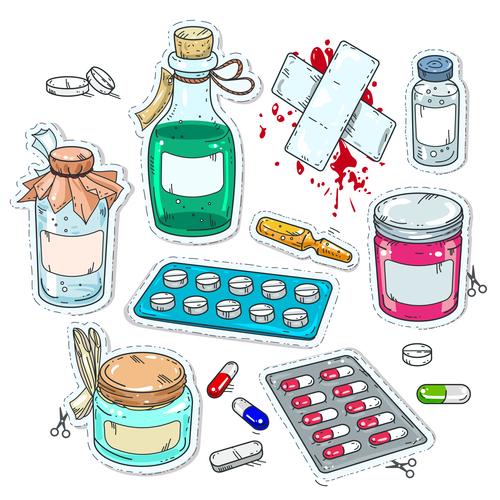 medicament elements hand drawn vector