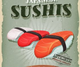 poster sushis poster template retro vector