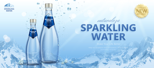 sparkling water poster design vector 01