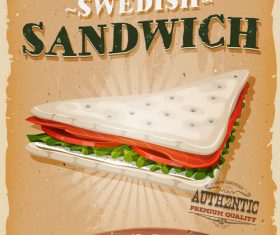 swedish sandwich poster template retro vector