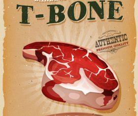 t-bone poster template retro vector