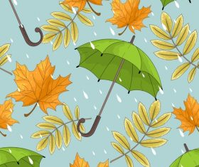 umbrella with autumn leaves vector seamless pattern