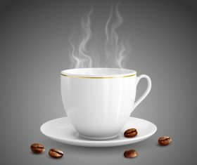 white coffee cup with coffee bean vectors material