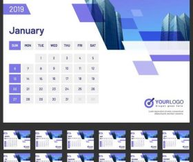 2019 Desk calendar company template vectors