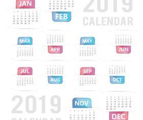 2019 calendar template design vectors