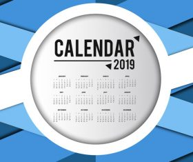 2019 calendar template with blue abstract background vector