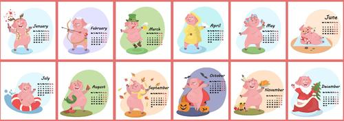 2019 calendar template with cartoon pig vector