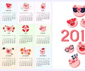 2019 calendar template with cute pig vector 01